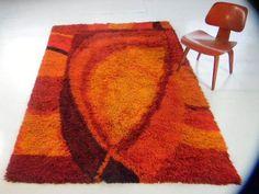 60s panton kartel era danish vintage shag rug floor art rya rug mid century mod   eBay