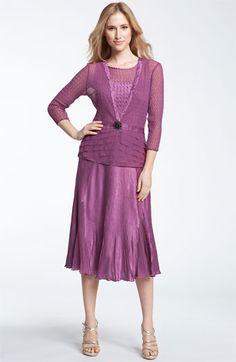 Komarov Pleated Charmeuse Dress & Chiffon Jacket available at Nordstrom