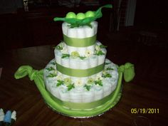 Peas in a pod Diaper cake i made for my sisters baby shower.