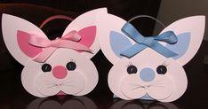 Amei estes lembrancinhas de coelho, quado vi. Para a cabeça, confeccione um coração, que , ficará de cabeça a para baixo, círculos, pa...