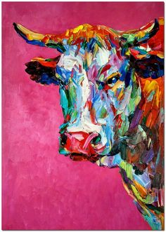 40 best colorful paintings of animals- 40 besten bunten Gemälden von Tieren 40 best colorful paintings of animals, painting animals has always been a tricky adventure. Animals come in a variety of body sizes and structures. This makes it extremely sc …, - Colorful Animal Paintings, Colorful Animals, Cow Painting Colorful, Bull Painting, Oil Painting On Canvas, Art Certificate, Tableau Pop Art, Cow Art, Fantasy Kunst