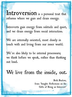 We live from the inside out. coincidence I'm finding this quote....