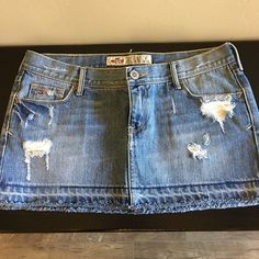 Hollister Distressed Denim Skirt Excellent condition. Only worn 2 times. Light color Size 5. Hollister Skirts Mini