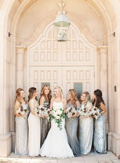 Neutral Sparkly Bridesmaid Dresses | Blue by Enzoani | Kaitlin Horrell | Kayla Barker Fine Art Photography https://www.theknot.com/marketplace/kayla-barker-fine-art-photography-tx-374529