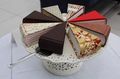 Cake Books by Larissa Cox. Handbound triangular books