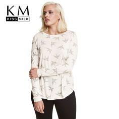 Kissmilk Plus Size Women Clothing Casual Animal Print Long Sleeve T-shirt O-Neck Tops Loose Big Size T-shirt