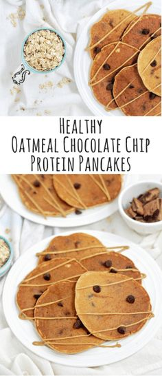 Healthy Oatmeal Chocolate Chip Protein Pancakes - The perfect morning treat or weekend brunch recipe. These pancakes are gluten-free, refined sugar-free, high in protein and most importantly delicious. Enjoy the cinnamon flavor with a drizzle of maple syr Best Breakfast Recipes, Brunch Recipes, Breakfast Ideas, Breakfast Quotes, Pancake Recipes, Breakfast Muffins, Chocolate Chip Pancakes, Chocolate Chip Oatmeal, Chocolate Chips