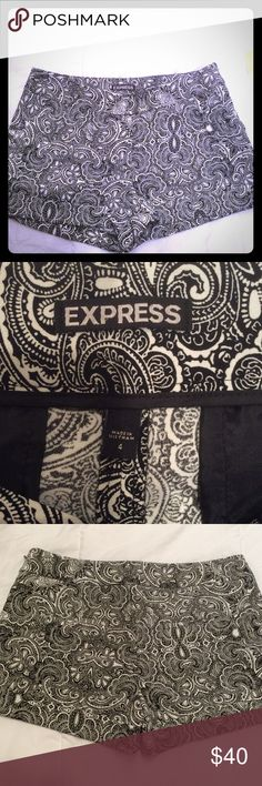 Express paisley shorts black/white sz4 Beautiful Express Paisley shorts in black and white. Side zipper. Mock pockets in the back. Never worn. Size 4. Express Shorts