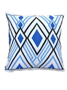Hand Woven Aztec Pillow Cover Blue | Funda Azteca Teijda a Mano Azul | Chiapas Bazaar| Fairtrade Mexican Artisanal Collection