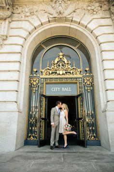 Chic SF City Hall Wedding: http://www.stylemepretty.com/2014/09/22/sophisticated-wedding-at-san-francisco-city-hall/   Photography: Nudrat Owens - http://www.nudratowens.com/