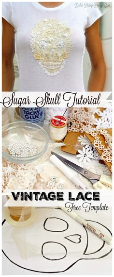 Sugar Skull from Vintage Lace, for T-shirts, pillows and more!