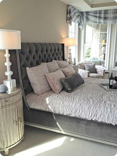 gray tufted headboard...want a headboard like this