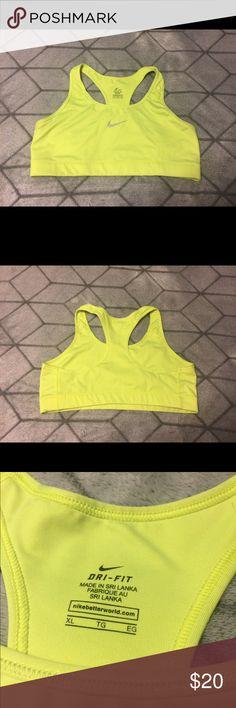 Nike Sports Bra Once worn Nike Sports Bra. Size XL. No stains, no pulls, perfect condition. Neon yellow/green. Nike Intimates & Sleepwear Bras