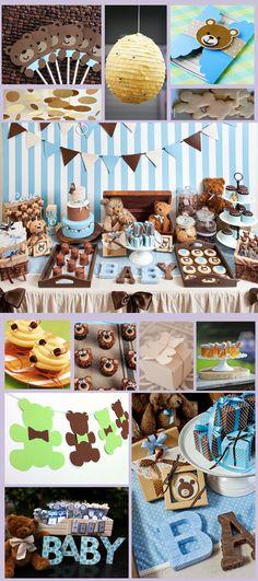 Candy Bar Teddy Bear. Mesa de Dulces, Botanas y Postres Osito Teddy. Baby Shower boy. Baby Shower Teddy Bear. Niño.
