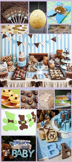 Candy Bar Teddy Bear. Mesa de Dulces, Botanas y Postres Osito Teddy. Baby Shower boy. Baby Shower Teddy Bear. Niño.