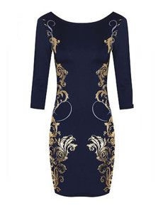 Absorbing Printed Round Neck With Zips Bodycon-dress