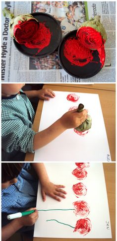 Per Sant Jordi, Roses estampades amb carxofa Kids Crafts, Diy And Crafts, Arts And Crafts, Art Crafts, Winter Karten, Art Projects, Projects To Try, Remembrance Day, Preschool Art