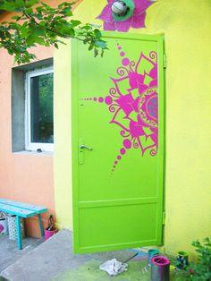Flower Burst Neon Door