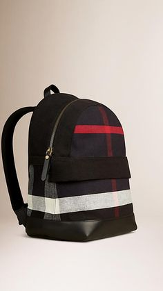 e4a9442e284c Burberry cotton jute backpack with Canvas check panels and leather trim.  Discover the childrenswear collection