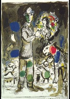 Marc Chagall - Peasant With a Bouquet, 1968 Marc Chagall, Artist Chagall, Chagall Prints, Chagall Paintings, Miro Paintings, Pierre Auguste Renoir, Pierre Bonnard, Acrylic Painting Lessons, Jewish Art