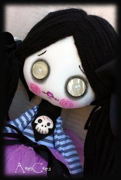 #Creepy #cute goth cloth #doll Vanessa handmade zombie doll with