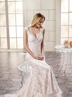 ADK Style 77990   Fit-n-flare, v-neck, cap sleeve, soft tulle and Venice lace appliques wedding dress. Ivory / Light Gold Ivory / Ivory