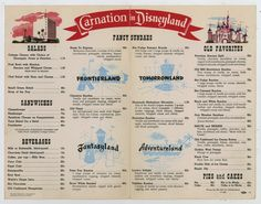 This is an original Carnation Ice Cream Parlor Menu from the Disneyland Restaurant. The menu measures x when it is folded, and is in fair-good condition with some signs of wear from use. Walt Disney Co, Disney Day, Old Disney, Disney Stuff, Disney Love, Disney Parks, Disneyland Restaurants, Disneyland Map, Vintage Disneyland