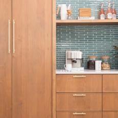 Neutral Midcentury Modern Kitchen With Blue Tile Backsplash