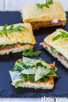 Easy Tea Sandwiches to Make: Parmesan cream cheese, prosciutto & arugula tea sandwich Tea Party Sandwiches, Easy Finger Sandwiches, Tapas, High Tea Food, Tea And Crumpets, Brunch, Little Lunch, Afternoon Tea Parties, Paninis