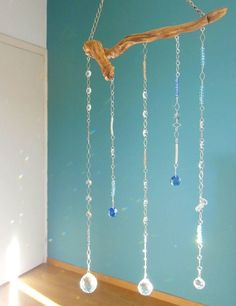 Sun catcher Crystal Mobile on Driftwood Beaded by handmadebyfofo