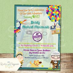 UP Birthday InvitationInspired By Disney Pixar RusticElegance18