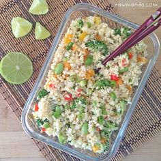 "Raw cauliflower ""fried"" rice is the perfect recipe for any lifestyle. Cauliflower is a great low-carb alternative to rice and can be eaten raw or cooked."