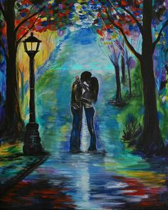 "Couple ART PRINT GICLEE Kissing In Love Hugging Couples Hugging Romantic City Abstract Loving Couple  ""Moonlight Kiss"" Leslie Allen Fine Art"