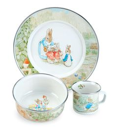 3-Piece Beatrix Potter Enamelware Dish Set. I think I had this in porcelain as a child.