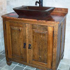 Rustic vanity with sink made from reclaimed barn wood    Bathrooms    Pinterest   Barn wood  Vanities and SinksRustic vanity with sink made from reclaimed barn wood    Bathrooms  . Rustic Vanities For Bathrooms. Home Design Ideas