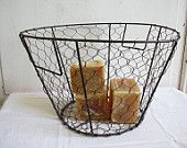 Vintage french farmhouse wire basket