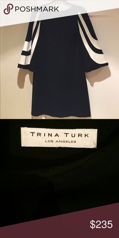 Trina Turk Mod 60s Bell Sleeve Black/White Shift This dress is so fun to wear.  It comes about 4 inches above the knee. Trina Turk Dresses Mini