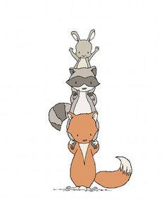 Woodland Animal Stack Nursery Art Print from Sweet Melody Designs Woodland Art, Woodland Nursery Decor, Woodland Animals, Bunny Nursery, Nursery Art, Nursery Frames, Scrapbooking Image, Art Fox, Woodland Illustration
