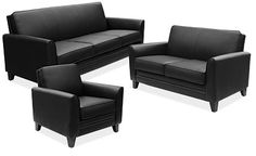 Maggie Reception Seating - Elegant Design for Home or Office. Black Leather-soft Vinyl with Black Legs.