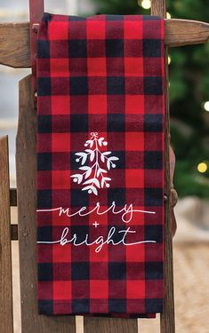 KP Creek Gifts - Red Buffalo Check Merry and Bright Towel