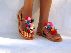 Alkioni Pom Pom sandals Handmade leather sandals by DelosArt