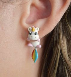 Ttpaiai 30 polymer clay cute unicorn earrings jewelry pegasus horse stud earring kids gift – Hobbies paining body for kids and adult Cute Polymer Clay, Cute Clay, Polymer Clay Charms, Handmade Polymer Clay, Polymer Clay Earrings, Polymer Clay People, Girls Earrings, Cute Earrings, Earrings For Kids