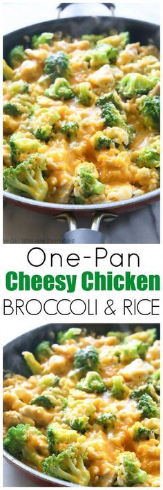 Cheesy Chicken, Broccoli, and Rice One-Pan Cheesy Chicken Broccoli and Rice Skillet - my go-to for an easy dinner. the-girl-who-ate-One-Pan Cheesy Chicken Broccoli and Rice Skillet - my go-to for an easy dinner. the-girl-who-ate- Easy Dinner Recipes, New Recipes, Cooking Recipes, Favorite Recipes, Healthy Recipes, Rice Recipes, Skillet Recipes, Cheap Recipes, Recipies