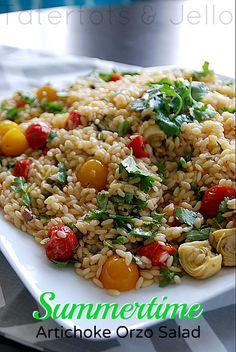 Artichoke Orzo Pasta Salad--Yum! from @Jennifer Hadfield