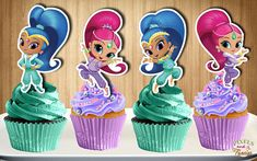 This listing is for the DIGITAL FILE ONLY which you can then print, cut and assemble as many as you need from home. NO PHYSICAL ITEM WILL BE SHIPPED TO YOUR ADDRESS. ***INSTANT DOWNLOAD*** Shimmer and Shine Cupcake Toppers 4 POSES DOUBLE-SIDED BORDERED/OUTLINED for easier cutting