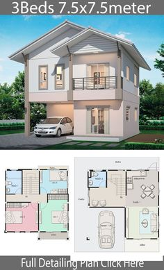 Haus Design Plan mit 3 Schlafzimmern Home Design with Plan Sims 4 House Plans, Duplex House Plans, House Layout Plans, Dream House Plans, Small House Plans, House Layouts, House Plans 3 Bedroom, Micro House Plans, Tiny House Layout
