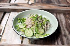 Pickled cucumber, edamame and soba noodle salad by My Beach Kitchen www.mybeachkitchen.com.au #foodphotography #foodstyling #mybeachkitchen #enamel
