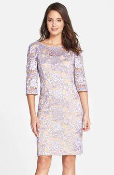 Alex evenings floral lace sheath dress