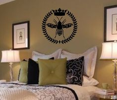 For my Craft Room- Queen Bee / Wreath / Crown Vinyl Wall Lettering by landbgraphics. $19.99, via Etsy.