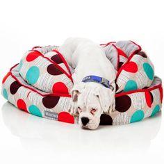 Hundebett zum Wenden - Atomik . Ein  farbenfrohes  Design mit  geometrischem  Muster. Ein absolut zeitgemäßes Bett für Ihren Hund. Die graue Seite mit dem weichen Plüschstoff eignet sich ideal für kühles Wetter. Die gemusterte Seite besteht  aus Canvas-Baumwolle und bietet an den wärmeren Tagen etwas mehr Komfort, da es kühler ist. Die weiche Innenfüllung besteht aus Polyester. Zusätzlich ist das Bett auch maschinenwaschbar.